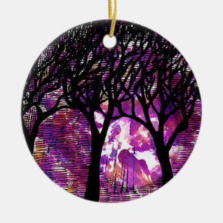 Winter Trees over alcohol ink Background Round Ceramic Decoration