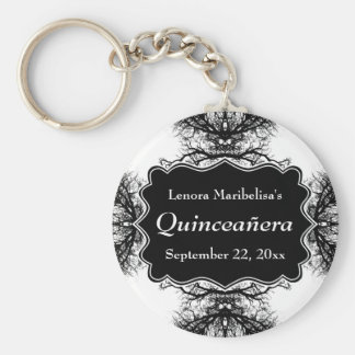 Winter Trees Pattern Quinceanera Basic Round Button Key Ring