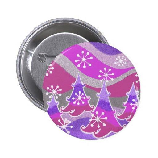 Winter Trees purple button badge
