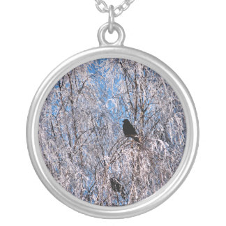 WINTER TREES SILVER PLATED NECKLACE