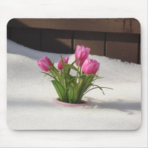Winter Tulips in Snow Storm Mouse Pad