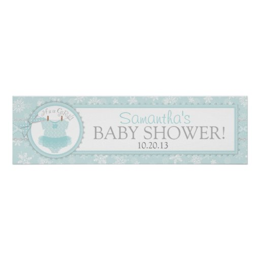 winter tutu snowflake baby shower banner posters zazzle