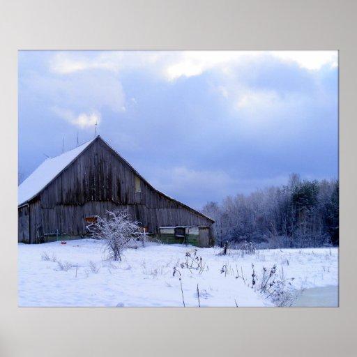 Winter Twilight Farm Print