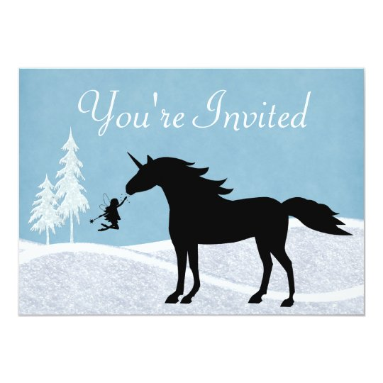 Winter Unicorn and Fairies Birthday Invitation