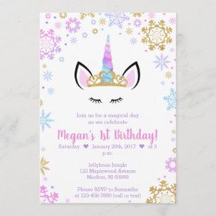 Winter Unicorn Birthday Invitations