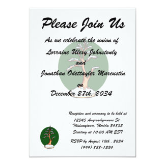 winter upright bonsai green circle behind graphic. 13 cm x 18 cm invitation card