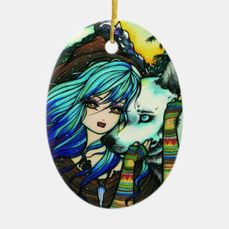 Winter Vampire Wolf Snow Girl Art by Hannah Lynn Christmas Ornament
