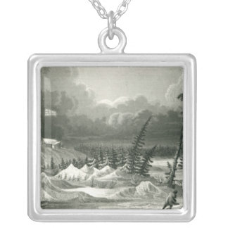 Winter View of Fort Franklin Silver Plated Necklace
