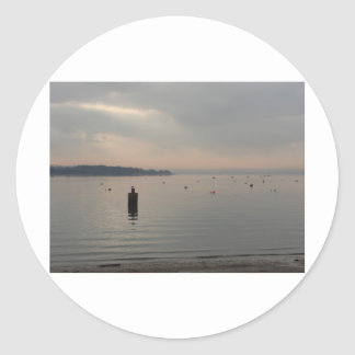 Winter view of Poole Harbour. Classic Round Sticker