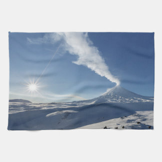 Winter view of volcanic eruption kitchen towels
