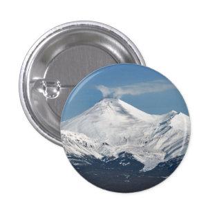 Winter view of volcanoes of Kamchatka Peninsula 3 Cm Round Badge
