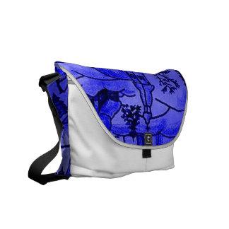 winter village blue messenger bag