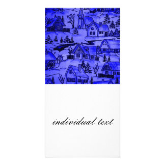 winter village,blue personalized photo card