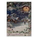 Winter Village Clock New Year Greeting Card