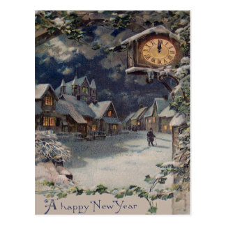 Winter Village Clock New Year Postcard