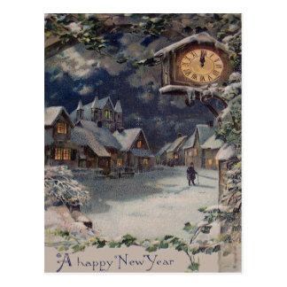 Winter Village Clock New Year Postcard