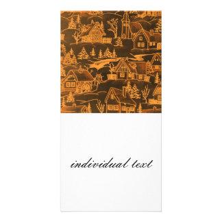 winter village,golden customised photo card