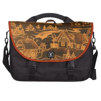 Winter Village golden Bags For Laptop