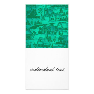 winter village,green personalized photo card
