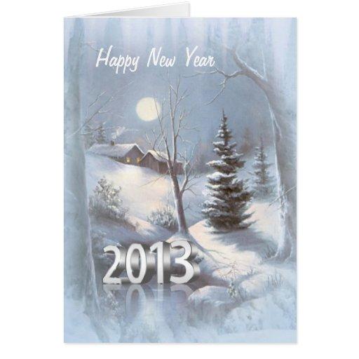 Winter village in snow New Year 2013 Card