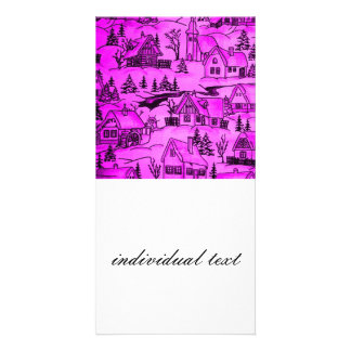 winter village,pink photo card template