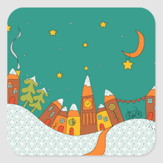 Winter Village Square Sticker