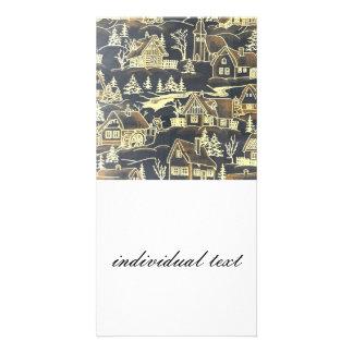 winter village,vintage custom photo card