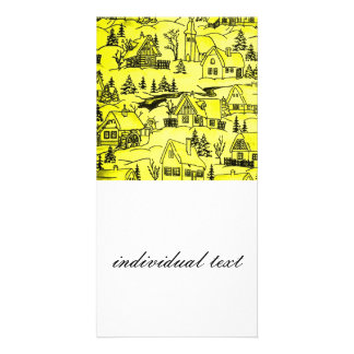 winter village,yellow photo card template