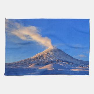 Winter volcanic eruption at sunrise hand towels