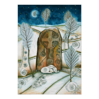 Winter Warmth Hare Poster