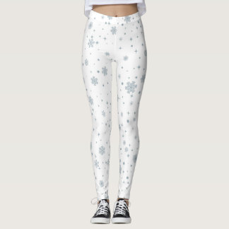 Winter Watercolor Snowflakes Christmas Leggings