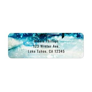 Winter Watercolor Snowy Forest Pine Trees Wedding Return Address Label