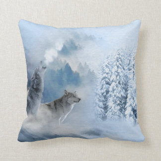 Winter Watercolor Woodland Wolves Cushion