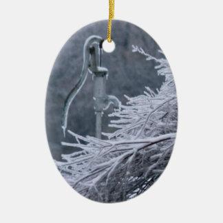 Winter Weather Pump Ceramic Oval Decoration