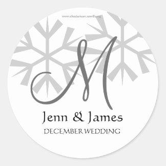 Winter Wedding Announcement Monogram M Seal Sticker
