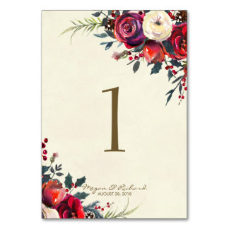 winter wedding berries wedding table number cards