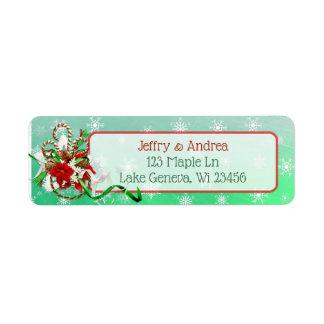 Winter Wedding Candy Cane Address Labels