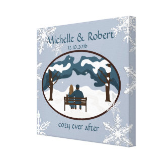 Winter Wedding Couple Custom Wrapped Canvas Canvas Print