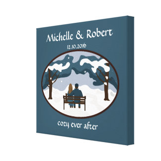Winter Wedding Couple Cute Custom Wrapped Canvas Canvas Prints