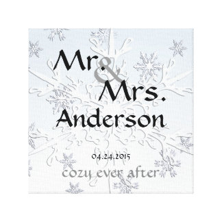 Winter Wedding Custom Mr Mrs Wrapped Canvas Stretched Canvas Print