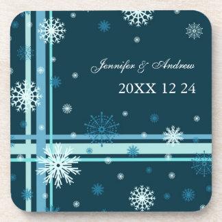 Winter Wedding Dark Teal Snowflakes Coasters