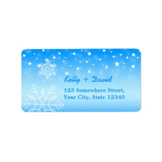 Winter Wedding Elegant Snowflakes Address Label