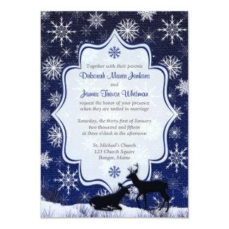 Winter Wedding | FAUX Burlap, Snowflakes, Deer 13 Cm X 18 Cm Invitation Card