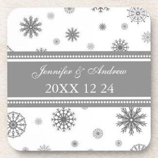 Winter Wedding Gray White Snow Coasters