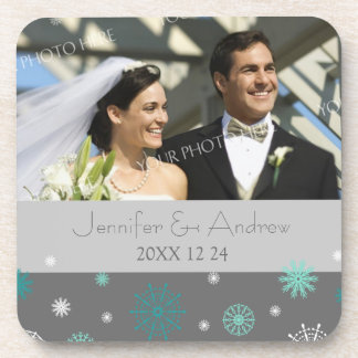 Winter Wedding Grey Aqua Snow Photo Coasters