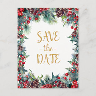 winter wedding holiday christmas save the date announcement postcard
