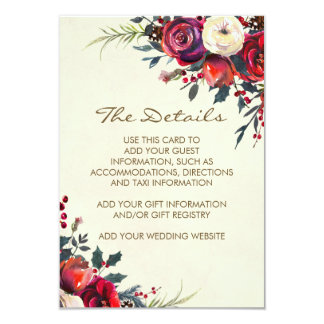 winter wedding holiday details information card