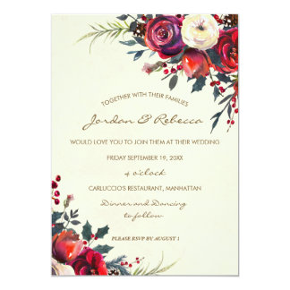 winter wedding invitation roses berries holiday