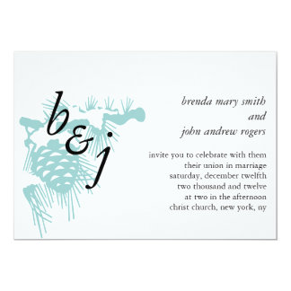 Winter Wedding Invitations Initials Blue Pine
