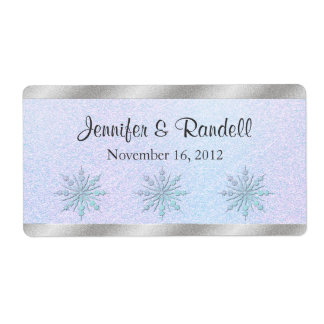Winter Wedding Mini Wine Bottle Label Shipping Label